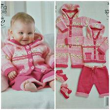 Tejer patrón Bebé Niñas Set al aire libre todo en uno Chaqueta Pantalones Botas dk 3770