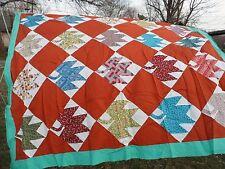 "Vintage Cotton Quilt Top Maple Leaf Pieced Blocks 68"" x 84"" Multi Colored"