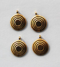 VINTAGE 4 NATURAL BRASS DISC PENDANT BAILS CIRCLE STAMPINGS 15mm WITH LOOP