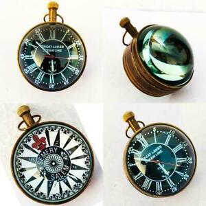 Nautical Style Pocket Watch Marine Antique Desk Clock Brass Made Table Decor