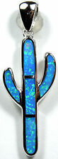 Blue Fire Opal Inlay 925 Sterling Silver Cactus Pendant