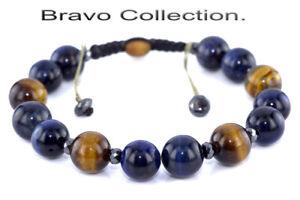 HANDMADE Gift Adjustable Blue & Yellow Tiger's Eye Wristband Men Bracelet B-303