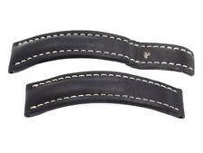 BREITLING BLACK LEATHER WATCH STRAP BAND INSERT WHITE STITCHING 22-20 436XL