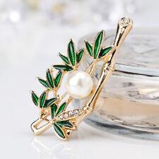 Lovely Simulated Pearl Rhinestone Bamboo Enamel Brooch Lapel Pin Women Jewelry