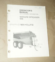 Sperry New Holland Manure Spreader 668 Operator's Manual P/N 43066810