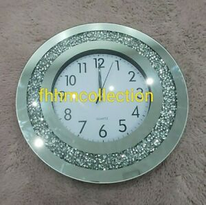 Crushed Diamond Crystal Wall Hung Clock 40cm X 40cm Round Silver Bling NEW