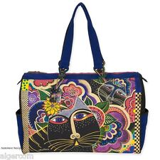 Laurel Burch CARLOTTA'S CAT Multi Color Cat Flower Luxury Travel Bag NEW 2016
