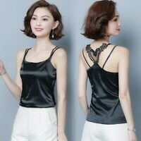Lady Strappy Satin Vest Faux Silk Camisole Tank Top Lace Shirt Sexy Glitter Cosy