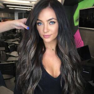 Fashion Women Real Natural Black Long Curly Wig Cosplay Wavy Full Hair Wigs UK