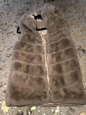 Ladies Beige Faux Fur Hooded Gilet Size S