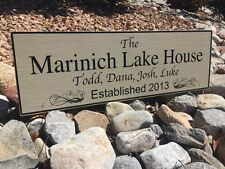Vacation Home Sign - Family Established Wooden Sign 6x18 With Names