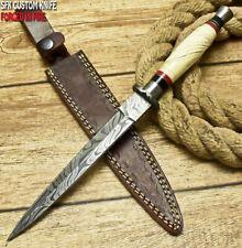 SFK CUTLERY CUSTOM HANDMADE FIXED BLADE DAMASCUS ART HUNTING BOOT DAGGER KNIFE