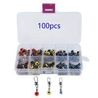 100pcs Fishing Accessories Kit Jig Head,Hooks,Sinker,Swivel Snap Fishing Tackle