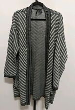 New Directions Women's Plus 1X Black Cream Sweater Sequin Duster Cardigan $68