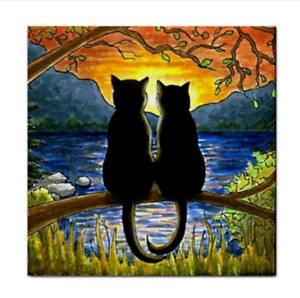 Black Cat 582 Sunset Large Ceramic Tile 6x6 inches Printed USA art L.Dumas