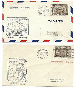 1929 Canada to USA FFC Lot of 2 - Sydney to Moncton & Charlottetown, Maritime