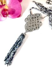"NIB JOAN BOYCE TREASURED TASSEL SILVER ENHANCER RHINESTONE PENDANT 36"" NECKLACE"
