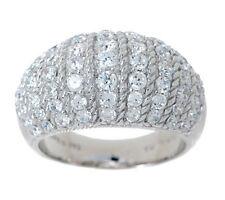 Judith Ripka Sterling Silver 1.45ct Diamonique Textured Dome Ring Sz 5 QVC $131
