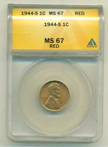 ANACS MS-67 RED 1944-S LINCOLN CENT