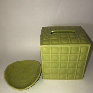 JONATHAN ADLER HAPPY HOME LIGHT GREEN DOT CERAMIC TISSUE BOX COVER & SOAP DISH