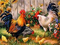 Full Drill DIY Flower Chicken 5D Diamond Painting Hand Cross Stitch Decor Crafts