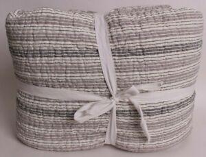 Pottery Barn Kids or Teen Gray stripe linen FQ quilt full queen *sample*