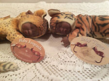 "Anne Geddes Sleeping Tiger & Leopards Plush Dolls W/Tags 9"" African American"