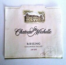 Chateau Ste Michelle Wine Bottle Labels Riesling 2010