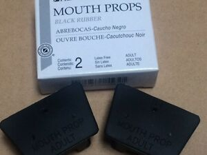 DENTAL MOUTH PROP BITE BLOCKS BLACK RUBBER ADULT LATEX FREE 2 IN A BOX ,