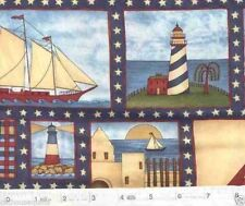 Lighthouses and Sailing Ships Ahoy Freedom Frames Quilt Fabric - 1/2 Yard Piece