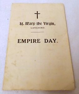 St Mary the Virgin, Langford, Somerset. Empire Day Hymn Leaflet