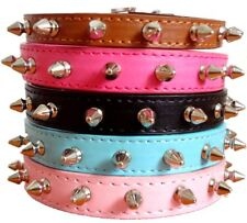Spiked Studded Faux Leather CAT DOG COLLAR Puppy Adjustable Small Pet Collar