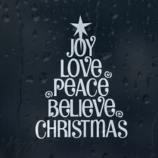 Merry Christmas Tree Enjoy Love Peace Believe Car Decal Vinyl Sticker
