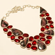 NATURAL PINK RHODONITE GARNET JEWELRY CHRISTMAS GIFT925 SILVER OVERLAY NECKLACE