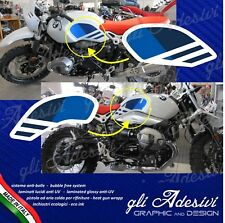 Set Adesivi serbatoio replica BMW Ninet Nine T Urban GS firma Gaston Rahier Blu