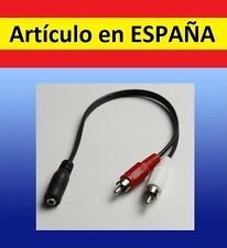 Cable estereo de mini JACK 3,5mm hembra a 2 machos RCA adaptador audio Y 3.5