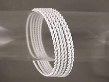 White set pack of 6 twist metal thin skinny narrow bangle bracelet twisted