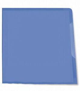 10 Sichthüllen A4 oben und seitlich offen genarbt 0,12 mm blau