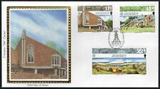 Jersey Fdc - Modern Architecture Complete Combo Set Of 3 - Colorano Silk Cachet!