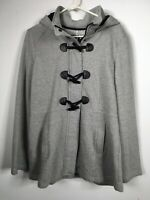 NWOT Sebby XL Womens Gray Hooded Twill Coat Jacket Hooks Zip Peacoat Stunning!