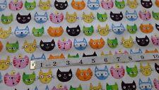 Cats Faces. fat quarters , 100% cotton, Neutral, Timeless Treasures Cat.c-2925