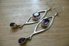 Handmade Hook Oval Amethyst Fine Earrings