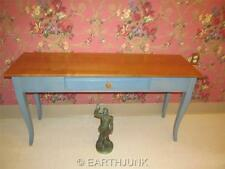 Ethan Allen Country Colors Sofa Table Maple Wood Wheat & Denim Blue 14 9407