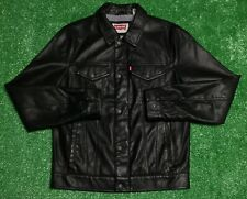 Levis Black Leather Faux Lether Red Tab Jacket Size Small Mint