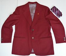 RON BURGUNDY OUTFIT COSTUME JACKET TIE NUMBER #4 PIN SIZE 42 LARGE L SPORT COAT
