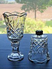 2 Homco Home Interiors Clear Cambridge Cut GlassVotiveCup Candle Holder Peglite