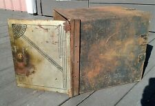 Antique Victorian Iron Wall Safe Strong Box w/ 2 Drawers