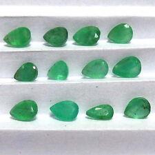 3.50 Cts Natural Untreated Zambia Green Emerald Gems Lot 12 Pcs Pear Cut 4-5 mm