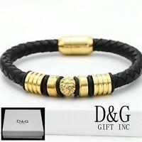 """DG Men's 8"""" Gold Stainless-Steel,Lion Black Braided.Leather Bracelet. BOX"""