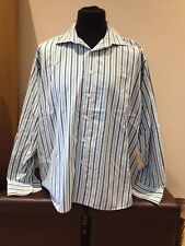 "Ben Sherman Casual Shirt Blue / White Striped Adult XL Collar 17.5"" (M2418)"